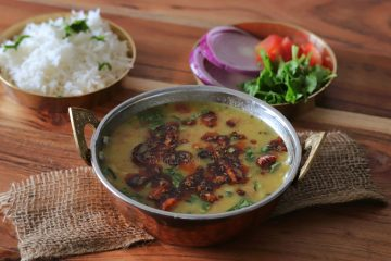 Dal Fry with Rice and Salad