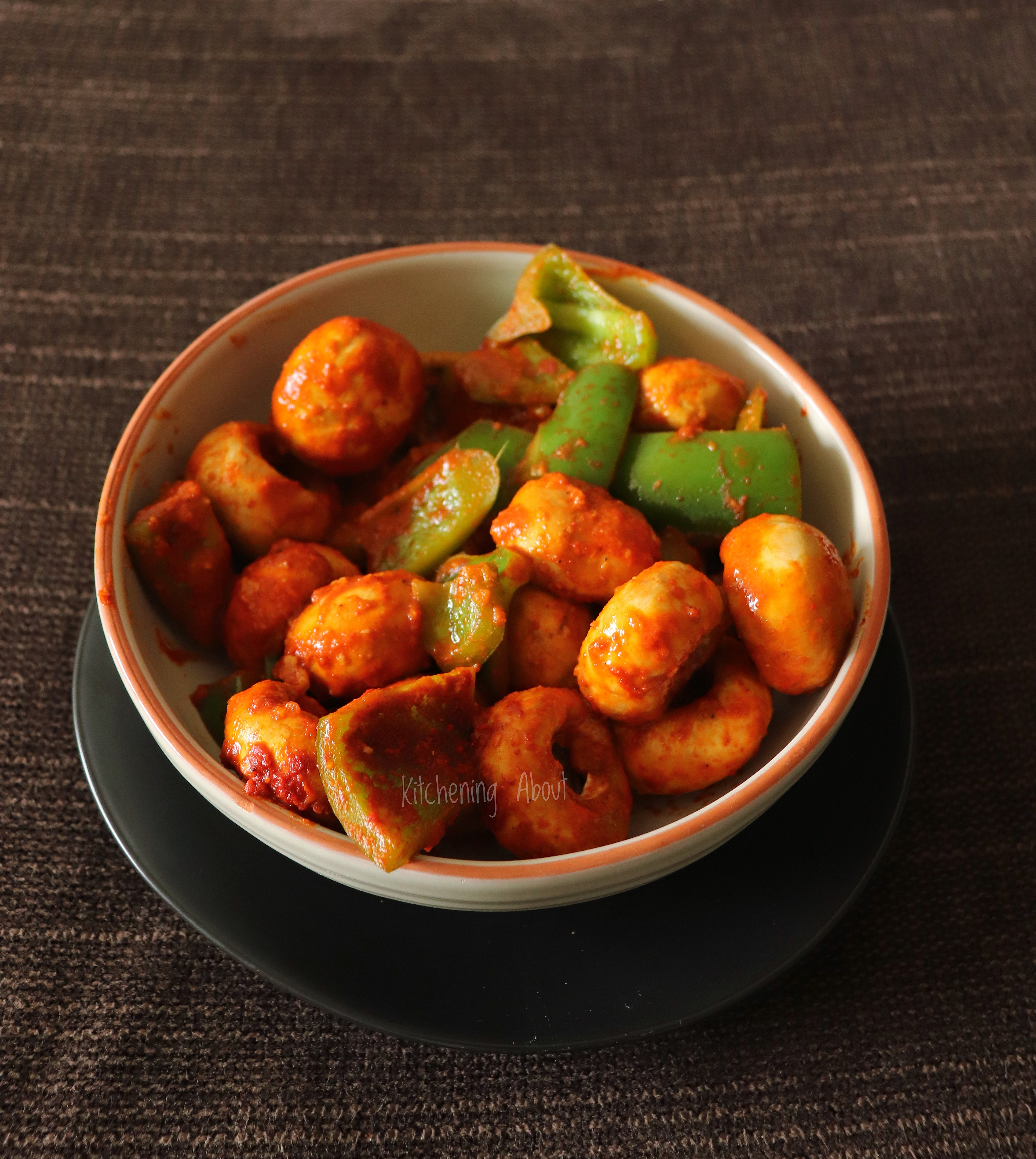 Mushroom & Capscium cooked in vegan curry sauce