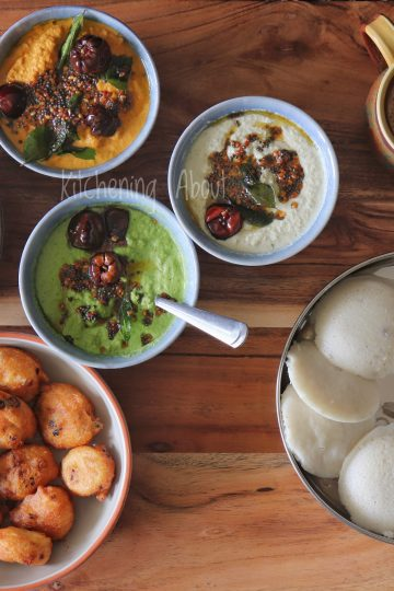 South Indian Brunch Idea with3 Yummy & Easy Coconut Chutney Recipes for Idly, Dosa