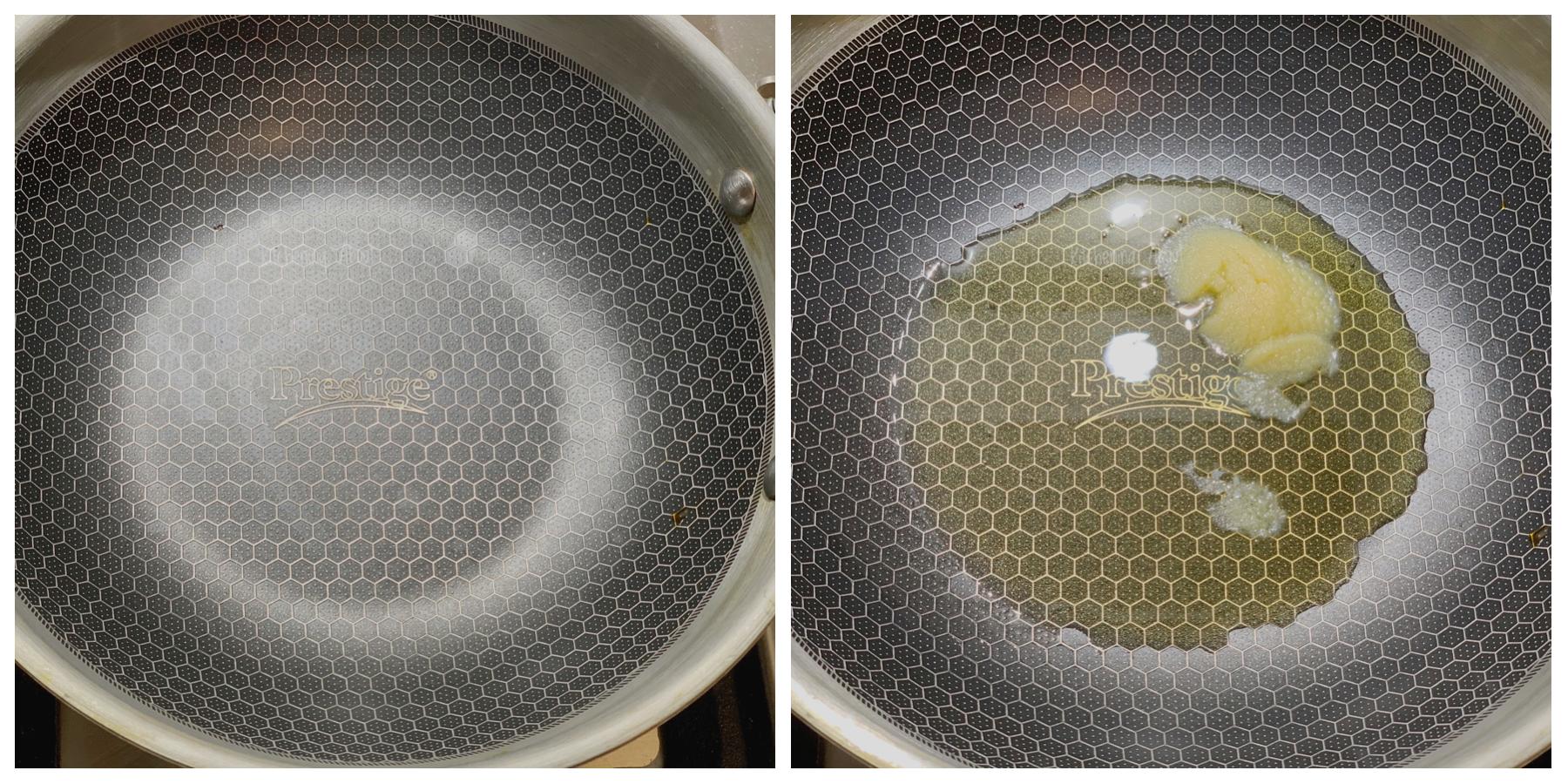 Heat ghee/oil in a pan.