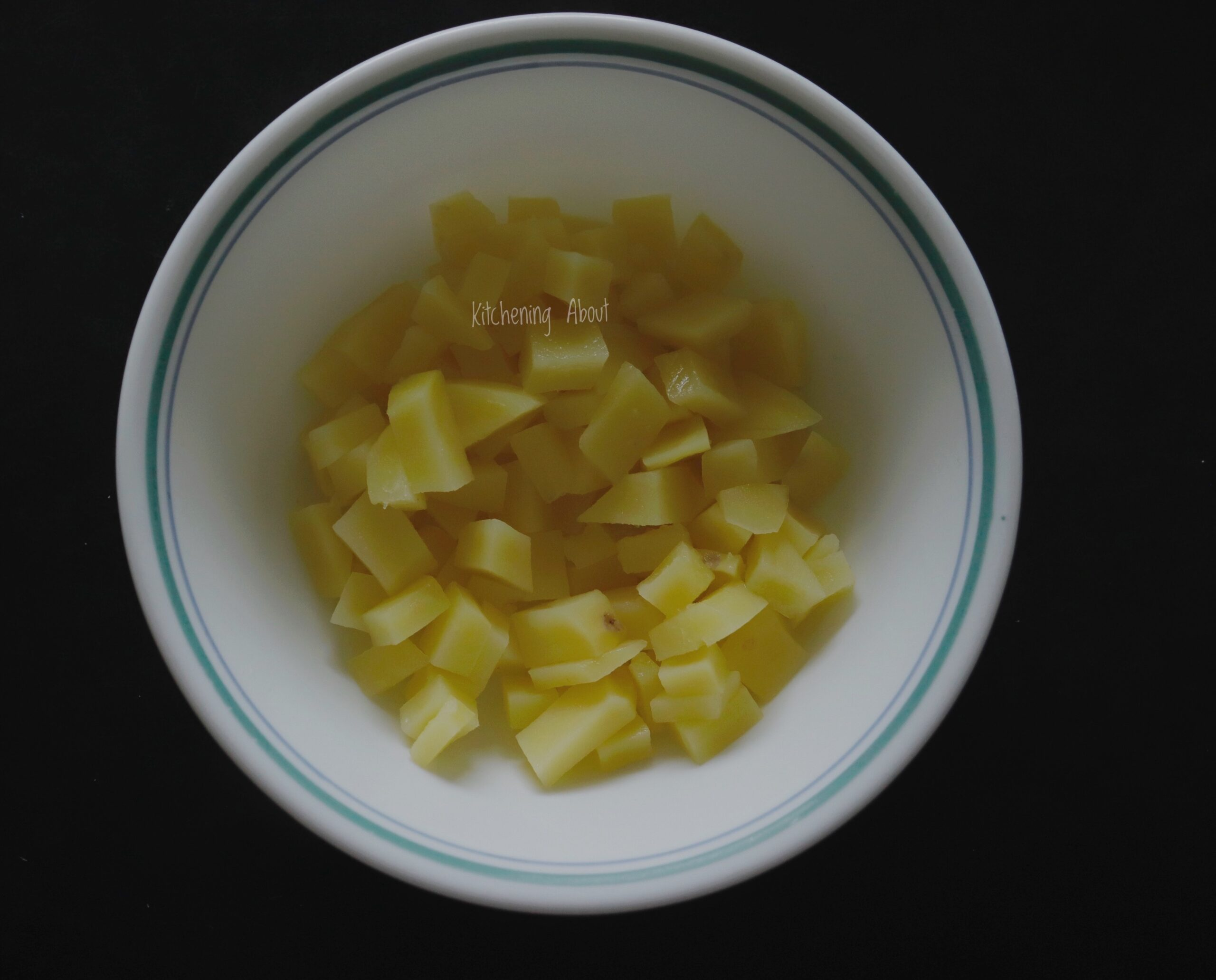 Boiled and cubed potatoes
